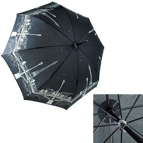 Механический зонт-трость Guy de Jean черного цвета с светлым принтом, фото