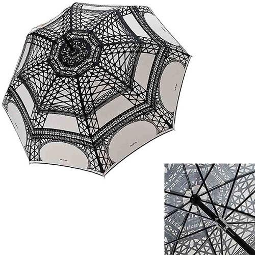 Большой женский зонт-трость Guy de Jean с рисунком Эйфелевой башни в фирменной упаковке, фото