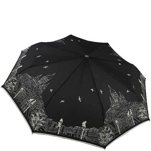 Складной женский зонт Guy de Jean черного цвета с белым принтом-зарисовкой, фото