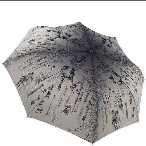 Зонт-полуавтомат Guy de Jean бежевого цвета с зарисовками улиц, фото
