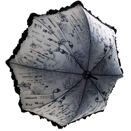 Женственный механический зонт-трость Guy de Jean бежевого цвета с зарисовками картин и черными рюшами, фото