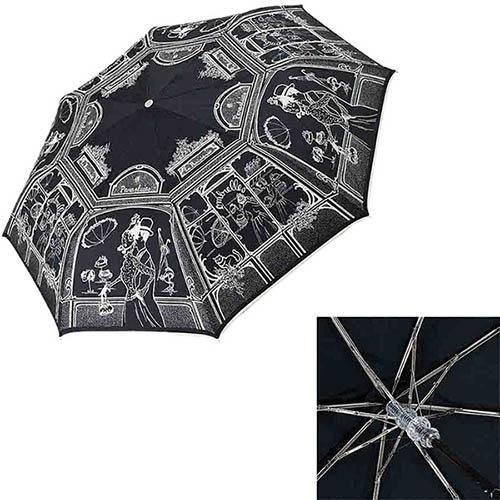 Зонт-полуавтомат Guy de Jean черного цвета со светлым узором в чехле, фото