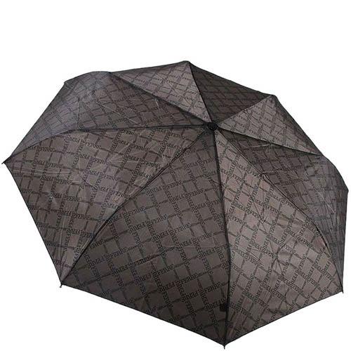 Коричневый мужской зонт Ferre с полуавтоматическим механизмом и брендированым принтом, фото