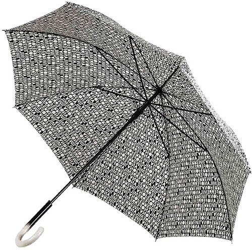 Черно-бежевый зонт-трость Ferre с газетным принтом и полуавтоматическим механизмом, фото