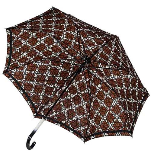 Полуавтоматический зонт-трость Ferre с коричневым принтом и уплотненным каркасом, фото