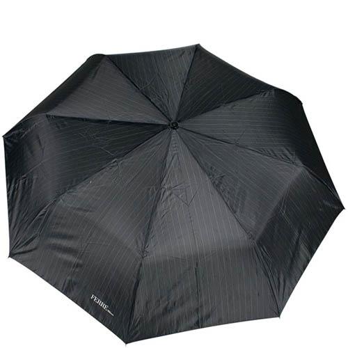 Большой и черный зонт-полуавтомат Ferre с тефлоновой пропиткой и системой антиветер, фото