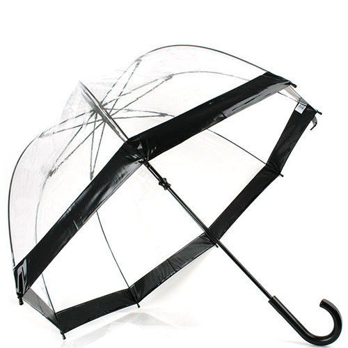 Прозрачный зонт Fulton Birdcage-1 с глубоким куполом и черной окантовкой, фото