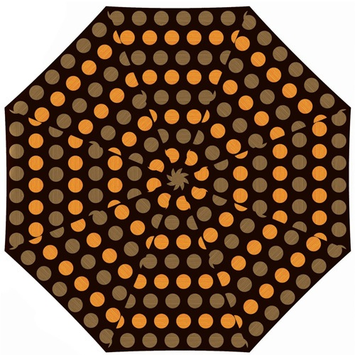Зонт Derby механический в 3 сложения с 8 спицами в оранжевый и бежевый горох, фото