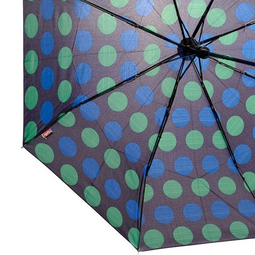 Зонт Derby механический в 3 сложения с 8 спицами в синий и зеленый горох, фото
