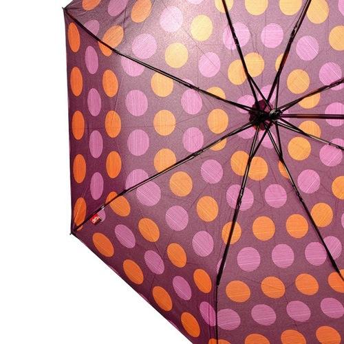 Зонт Derby механический в 3 сложения с 8 спицами в розовый и оранжевый горох, фото