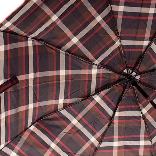 Зонт-полуавтомат Doppler Carbon Steel Сейф антиветер в 3 сложения в коричневую клетку, фото