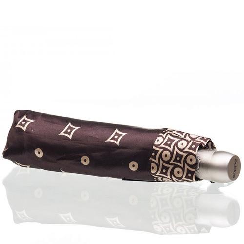 Зонт-автомат Doppler SATIN антиветер в 3 сложения цвета шоколада с карамельным принтом, фото