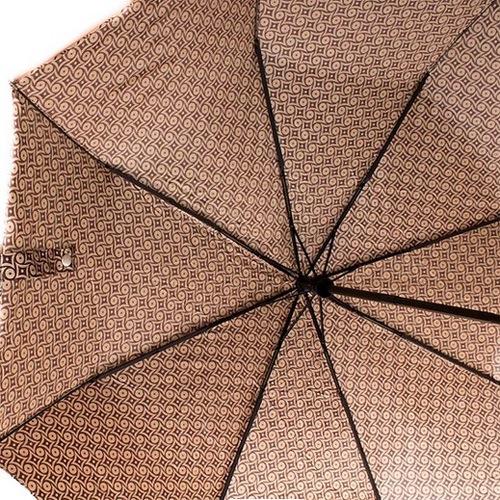 Зонт-автомат Doppler SATIN антиветер в 3 сложения карамельно-шоколадного цвета, фото