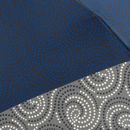 Зонт-автомат Doppler SATIN антиветер в 3 сложения серо-синий с принтом в виде завитушек, фото