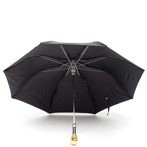 Складной черный зонт Pasotti с золотистым черепом, фото