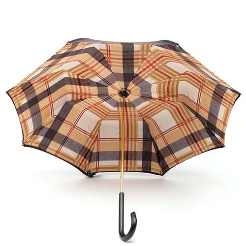 Зонт-трость Pasotti черный внутри в коричневую клетку, фото