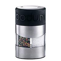 Мельница для соли и перца Bodum Twin с силиконовой вставкой черного цвета, фото