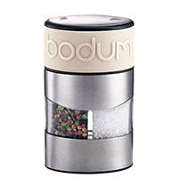 Мельница для соли и перца Bodum Twin с силиконовой вставкой белого цвета, фото