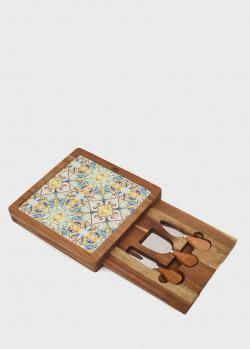 Стеклянная доска Brandani Medicea с 3 приборами для подачи сыра, фото