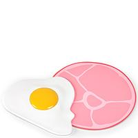 Набор из прихватки и скребка Fred and Friends в виде яичницы и ветчины, фото