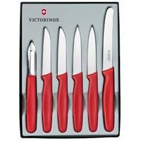 Набор Victorinox из 5 ножей и овощечистки с красными рукоятями, фото