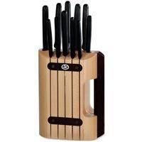 Набор Victorinox из 11 предметов с черными рукоятями и подставкой, фото