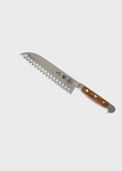 Японский поварской нож Gude Alpha Olive Santoku с желобчатой линией лезвия 18см, фото
