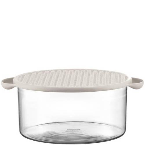 Салатник Bodum стеклянный с силиконовой крышкой белого цвета объемом 2.5 л, фото