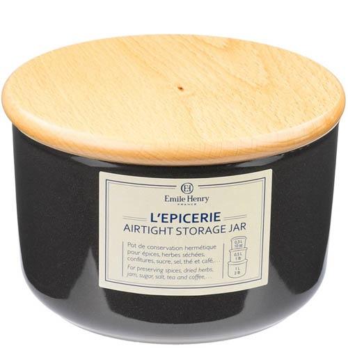 Емкость для хранения Emile Henry Natural Chic Poivre 500 мл керамическая с крышкой, фото