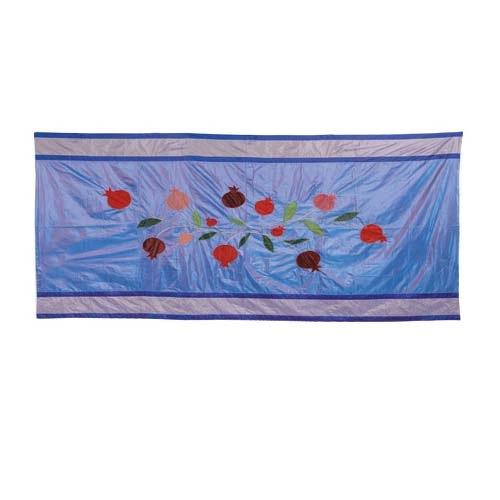 Скатерть Emanuel прямоугольная большая шелковая сиреневая с аппликацией и вышивкой ручной работы, фото