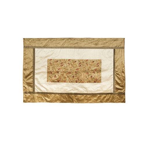 Скатерть Emanuel шелковая золотистая с аппликацией и вышивкой ручной работы в виде ветвей с гранатами, фото