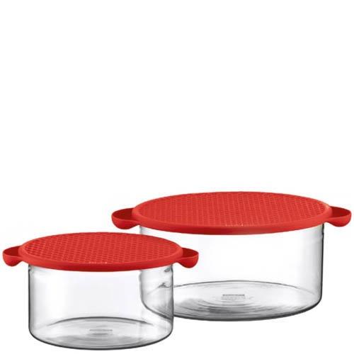 Набор емкостей для хранения Bodum  объемом 1 л и 2.5 л с красной крышкой, фото