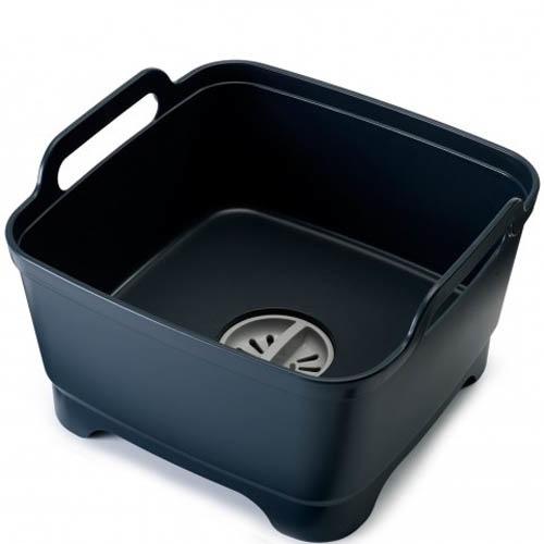 Емкость для мытья посуды со сливом Joseph Joseph Wash And Drain черная, фото