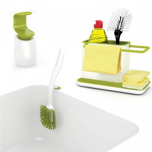 Набор кухонный для раковины Joseph Joseph белый с зеленым, фото