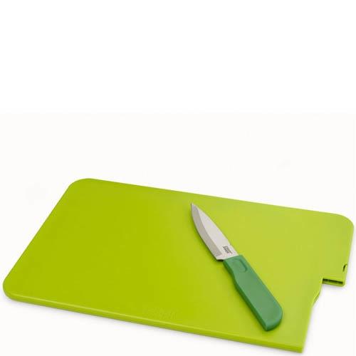 Разделочная доска зеленая Joseph Joseph Slice And Store со встроенным ножом , фото