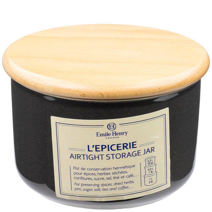 Емкость для хранения Emile Henry Natural Chic Poivre 300 мл керамическая с крышкой