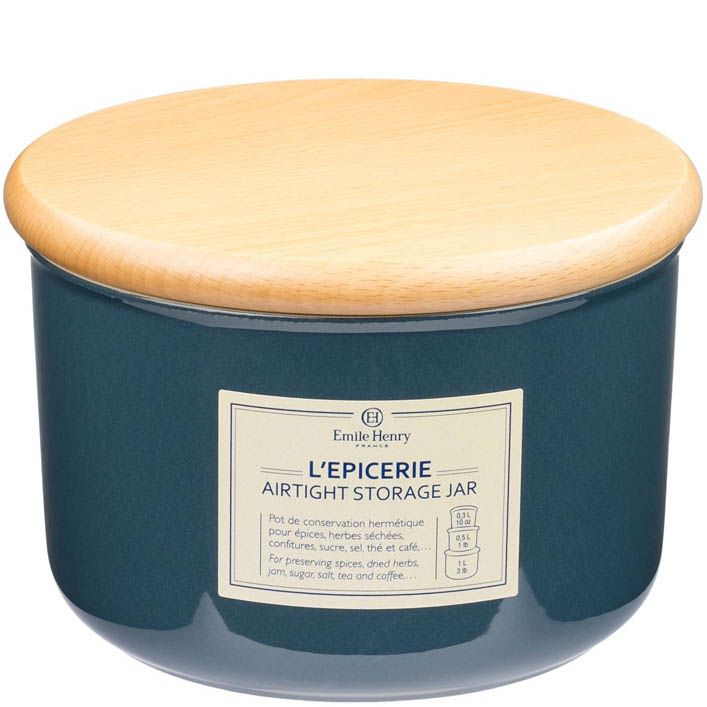 Емкость для хранения Emile Henry Natural Chic Bleu Pavot 1 л керамическая с крышкой