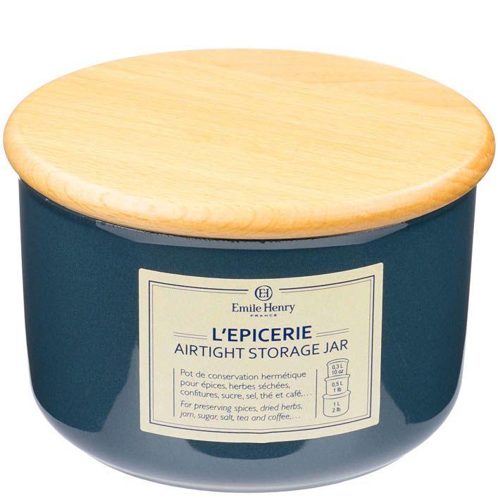 Емкость для хранения Emile Henry Natural Chic Bleu Pavot 500 мл керамическая с крышкой