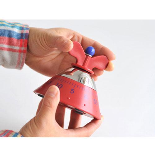 Красный таймер Alessi в форме пирамиды