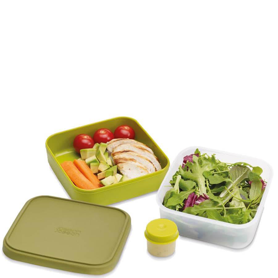 Зеленый двойной контейнер Joseph Joseph GoEat для салата