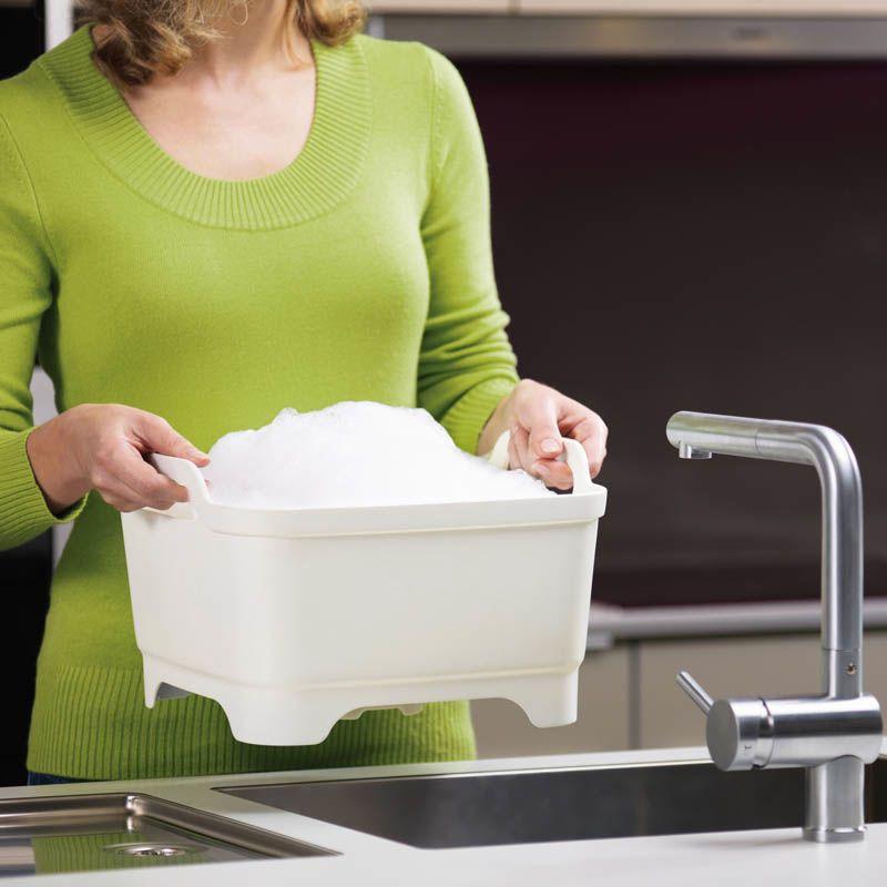 Емкость для мытья посуды со сливом Joseph Joseph Wash And Drain белая