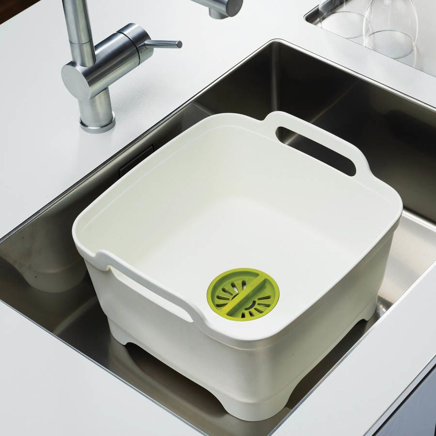Емкость для мытья посуды со сливом Joseph Joseph Wash And Drain зеленая