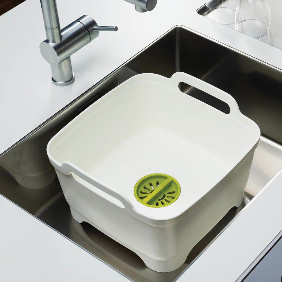 Емкость для мытья посуды со сливом Joseph Joseph Wash And Drain розовая