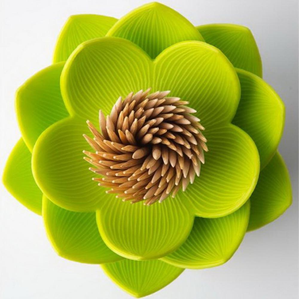 Подставка для зубочисток Qualy Lotus белая с зеленым