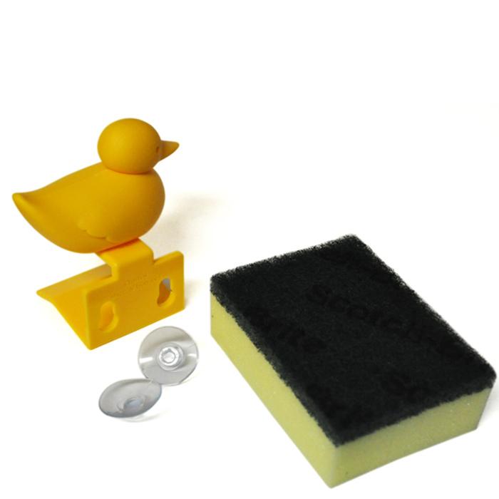 Держатель для губки Qualy Duck Sponge желтого цвета