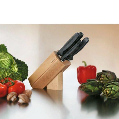 Набор Victorinox из 5 ножей с черными рукоятями Fibrox и подставкой