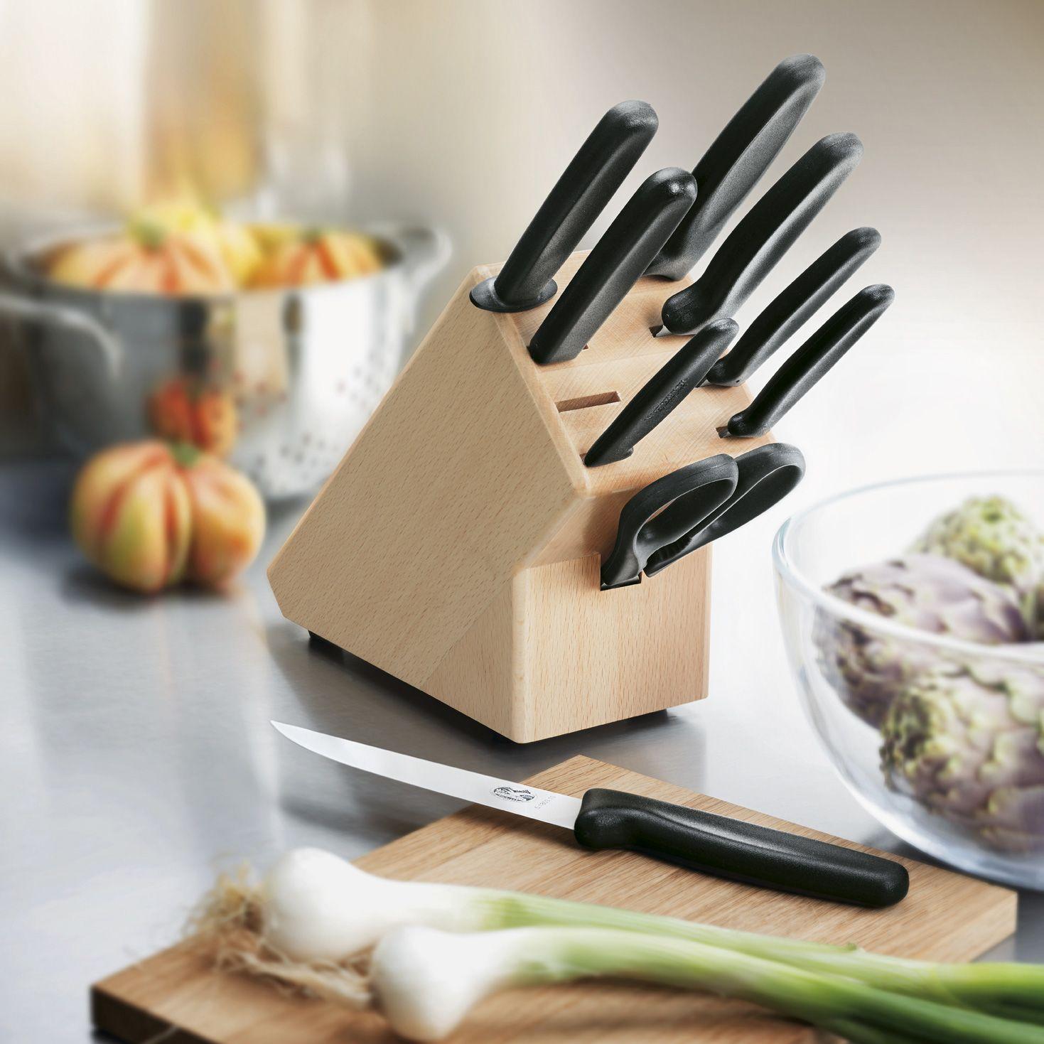 Набор Victorinox из 6 ножей, ножниц, мусата и поварской вилки в подставке
