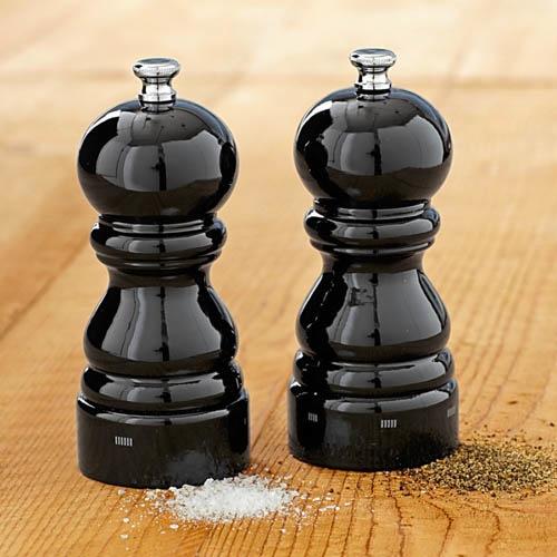 Мельница для соли Peugeot Paris U 12 см деревянная черная лаковая, фото