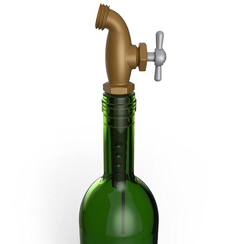 Стоппер с дозатором для бутылок Fred and Friends в виде медного крана, фото