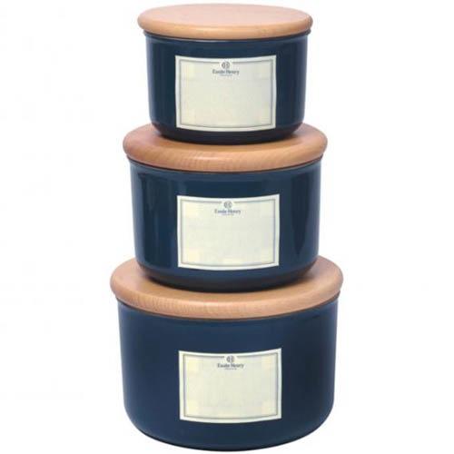 Емкость для хранения Emile Henry Natural Chic Bleu Pavot 500 мл керамическая с крышкой, фото